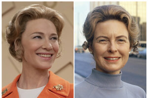 Cate Blanchett a Phyllis Schlaflyová. Blanchett hrá konzervatívnu aktivistku v movom seriáli Mrs. America