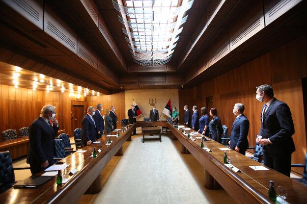 Boris Kollár počas rokovania so zástupcami Združenia samosprávnych krajov SK 8 v budove parlamentu o vzájomnej spolupráci SK 8 s Národnou radou Slovenskej republiky.