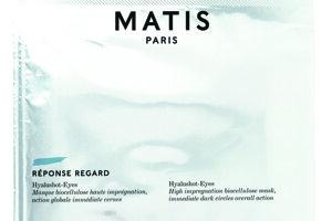 MATIS Hyalushot Eyes biocelulózová 15-minútová maska s okamžitým efektom proti tmavým kruhom pod očami. Slúži aj ako doplnok k regeneračnému krému pre zvýšenie efektívnosti. FAnn parfumérie, 5 ks v balení, cena 55 €