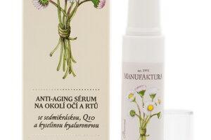 MANUFAKTURA anti-aging sérum na okolie očí a pier so sedmokráskou, koenzýmom Q10, kyselinou hyalurónovou znižuje výskyt vrások, má okamžitý aj dlhodobý liftingový účinok. Napomáha spomalenie starnutia pleti a spevňuje ju. Vhodný aj pre vegánov. Cena 13,95 €