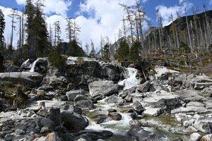 Vodopády Studeného potoka vo Vysokých Tatrách.