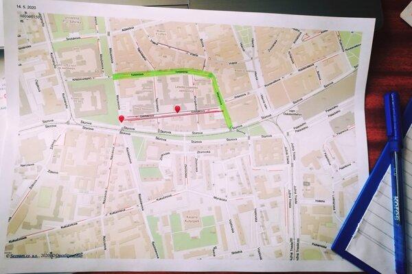 Obchádzka poviedie po uliciach Mojmírova, Timonova a Štúrova.