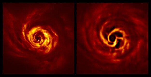 Zábery disku plynu a prachu v sústave hviezdy AB Aurigae. Vľavo je pôvodný záber, vpravo priblíženie vnútornej časti disku. Veľmi jasný bod stretu dvoch špirálovitých ramien podľa vedcov naznačuje polohu vznikajúcej planéty.
