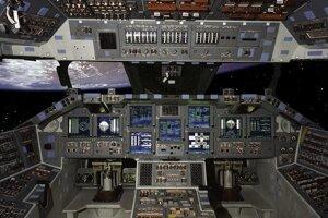 Sklenený kokpit raketoplánu Endeavour.