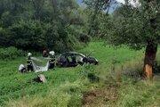 Volkswagen sa odrazil od stromu a skončil mimo cesty.