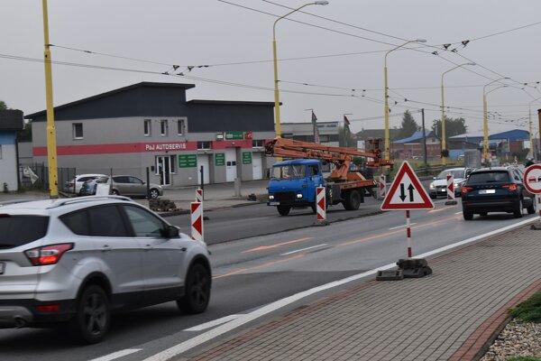 Oprava cesty I/18 v Prešove.