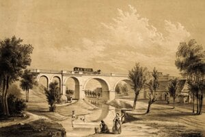 Most konskej železnice v Báhoni pri Trnave.