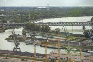 Zimný prístav v Bratislave.