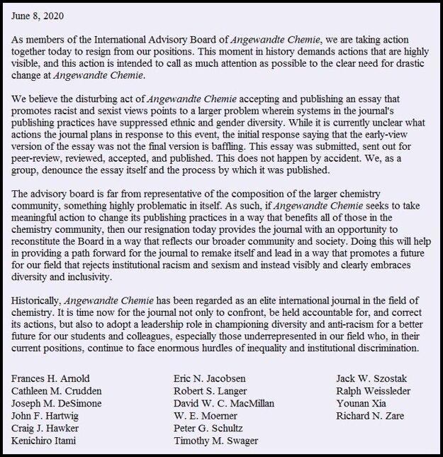 Dopis 16 poradcov, ktorí odstupujú od spolupráce s časopisom pre článok profesora Hudlického..