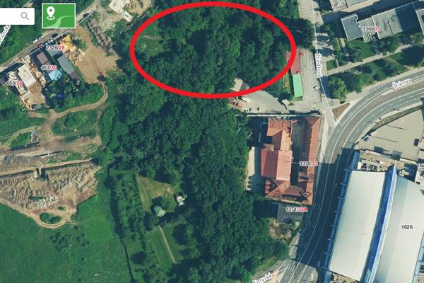 Historický evanjelický cintorín na Žriedlovej (orientačne označený červeným krúžkom) a asanačné pásmo Košíc s množstvom mestskej zelene.