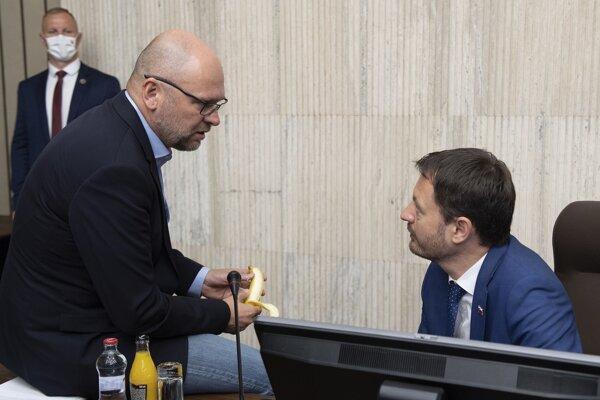 Prvý podpredseda vlády pre ekonomiku a minister hospodárstva Richard Sulík (SaS) a podpredseda vlády a minister financií Eduard Heger (OĽaNO).