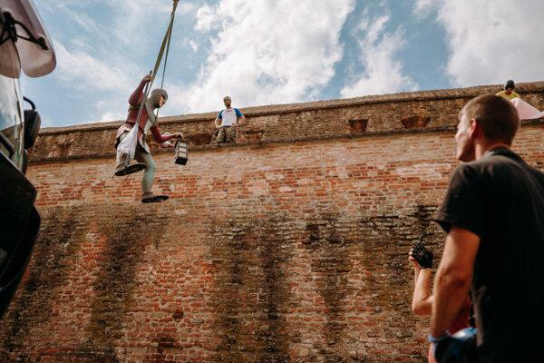 Sochy na trnavských hradbách.