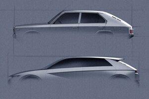 Koncept 45 EV nadväzuje na tvary Hyundaiu Pony z roku 1974.