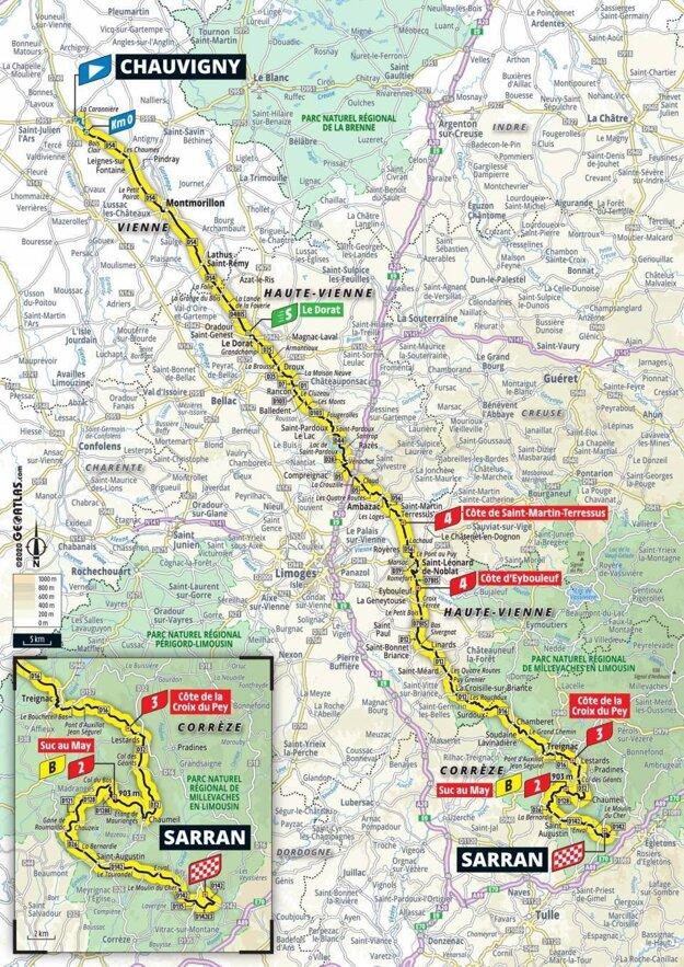 12. etapa na Tour de France 2020 - mapa.