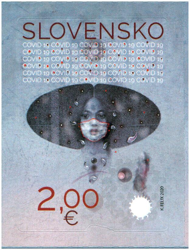 Slovenská pošta vydá v piatok 21. augusta 2020 poštovú známku COVID-19 so symbolickým portrétom dievčaťa s rúškom na tvári a rozptýlenými koronavírusmi okolo.