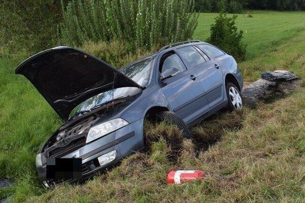 Škoda Octavia skončila mimo cesty.