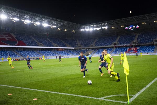 Momentka zo zápasu Slovensko - Česko (Liga národov).