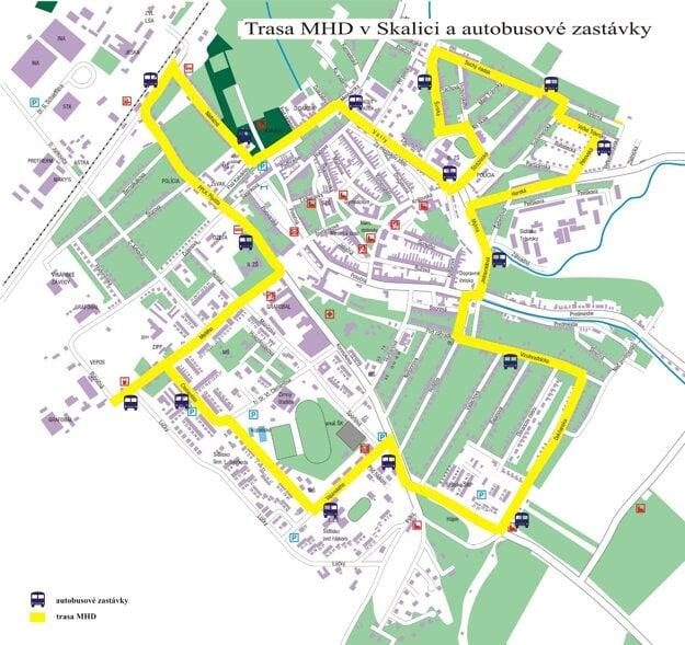 Trasy MHD v Skalici a autobusové zastávky.