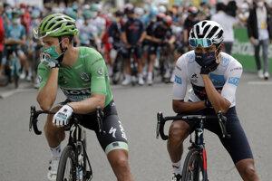 Peter Sagan a Egan Bernal pred štartom 9. etapy.