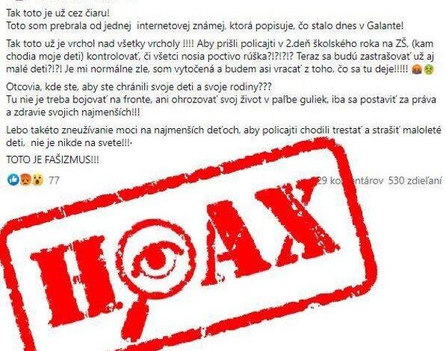 Na hoax upozornila polícia na sociálnej sieti.