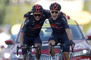 Michal Kwiatkowski (vpravo) a Richard Carapaz v 18. etape na Tour de France 2020.