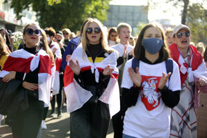 Ženy na proteste v Minsku.