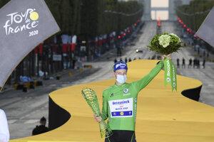 Sam Bennett ako víťaz bodovacej súťaže na Tour de France.