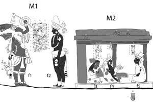Celkom vľavo teotihuacánsky správca K´ihnich Mo´ (f1), vpravo kráľ