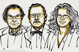 Tohtoroční laureáti Nobelovej ceny za fyziku (zľava) Roger Penrose, Reinhard Genzel a Andrea Ghezová.
