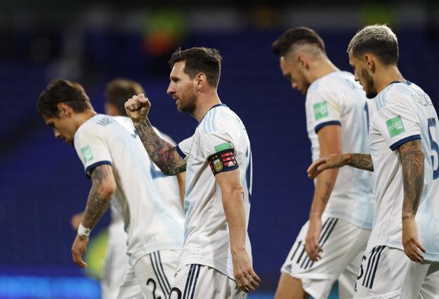 Lionel Messi po góle v zápase kvalifikácie MS 2022 Argentína - Ekvádor.