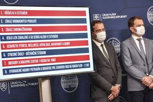 Minister zdravotníctva SR Marek Krajčí a predseda vlády Igor Matovič prezentujú súhrn nových protiepidemických opatrení.