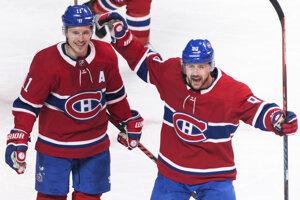 Brendan Gallagher (vľavo) a Tomáš Tatar v drese Montreal Canadiens.