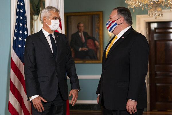 Minister zahraničných vecí Ivan Korčok so svojím americkým náprotivkom Mikeom Pompeom.