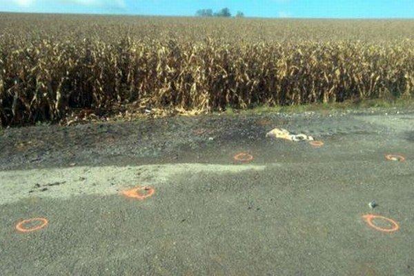 Lúpež sa mala stať na tomto mieste pri kukuričnom poli.