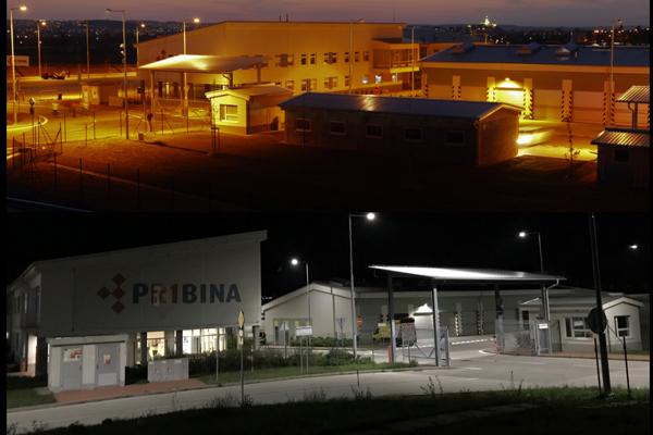 Porovnanie sodíkových lámp a LED (fotené na stredisku údržby v Nitre).