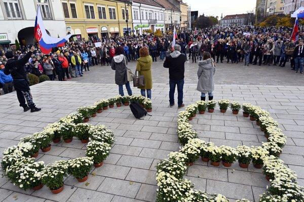 Protest proti vládnym opatreniam v Košiciach.