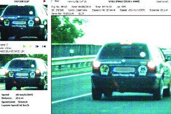 Polícia pokutovala vodiča za prekročenie rýchlosti.