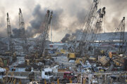 Trosky po výbuchu v Bejrúte.