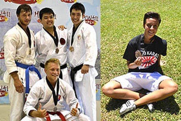 Vľavo Matej Urik, pod ním Samuel Dávid, vpravo Hana Kuklová - zo súťaží na Havaji.