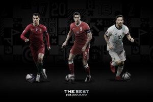 Kandidáti na cenu Najlepší hráč podľa FIFA: Cristiano Ronaldo, Robert Lewandowski, Lionel Messi.