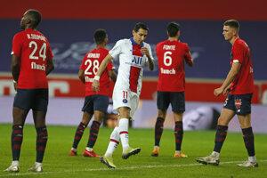 Angel Dí Maria v zápase Paris St. Germain proti OSC Lille. V 77. minúte ho vystriedal Kylian Mbappé.