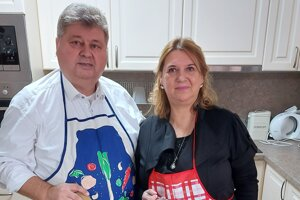 Starosta Solčian Juraj Soboňa s manželkou Jolantou.