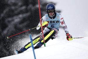 Clement Noel počas slalomu vo Flachau.