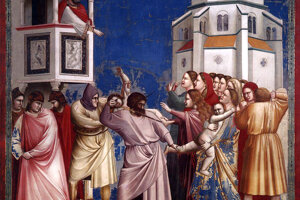 Betlehemské vraždenie neviniatok na freske od Giotta.