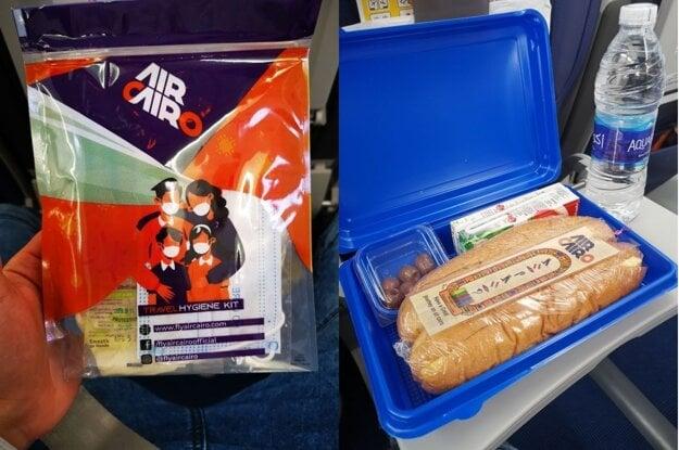 Hygienická sada a občerstvenie počas letu s Air Cairo