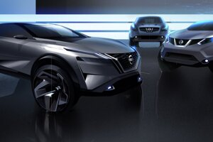 Skica s troma generáciami Nissanu Qashqai.