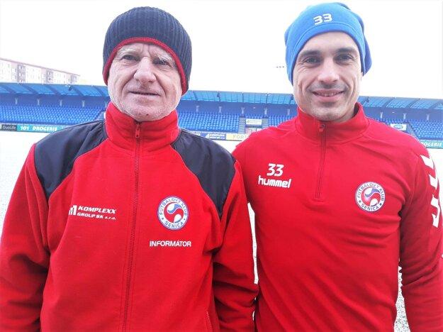Juraj Piroska svojim gólom v Ružomberku vyrovnal rekord Miloša Malárika a svojim 47 gólom v drese Senice sa tak zapísal medzi najlepších strelcov. Na foto zľava: Miloš Malárik a Juraj Piroska.