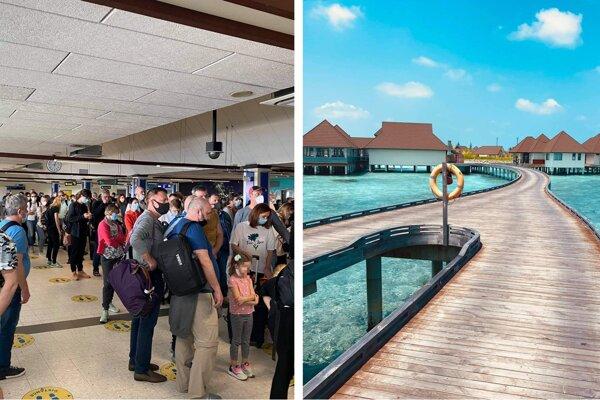 Plné letisko po prílete troch lietadiel na Maldivy. Pri vstupe do krajiny musia mať dovolenkári PCR testy.