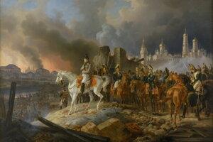 Napoleon Bonaparte v horiacej Moskve v roku 1812. Práve vojenská výprava do Ruska znamenala začiatok konca jeho dominancie v Európe.