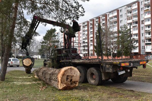 Pracovníci Technických služieb na Sídlisku III pri ZŠ Dargovských hrdinov.